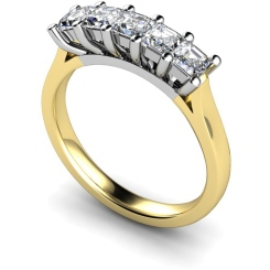 HRPTR214 Princess 5 Stone Diamond Ring - yellow