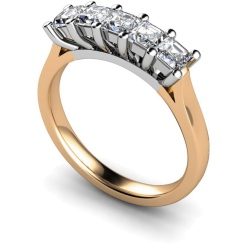 HRPTR214 Princess 5 Stone Diamond Ring - rose