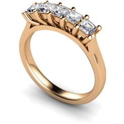 HRPTR214 Princess 5 Stone Diamond Ring - rose