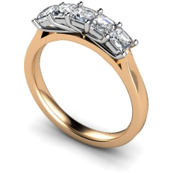 HRPTR218 Princess 5 Stone Diamond Ring - rose