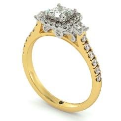 HRPTR733 3 Stone Princess cut Halo Diamond Engagement Ring - yellow