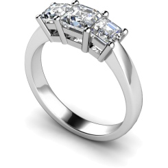 HRPTR89 Princess 3 Stone Diamond Ring - white