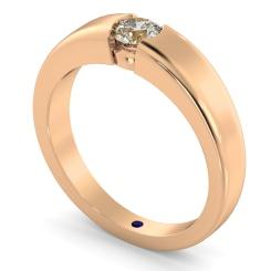 HRR260 Modern Round Cut Solitaire Diamond Ring - rose