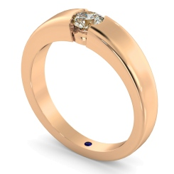 HRR260 Modern Round Cut Solitaire Diamond Ring - rose
