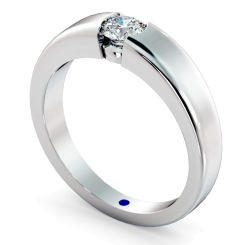 HRR260 Modern Round Cut Solitaire Diamond Ring - white