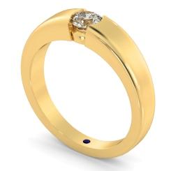 HRR260 Modern Round Cut Solitaire Diamond Ring - yellow