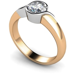 HRR270 Round Solitaire Diamond Ring - rose