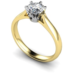 HRR299 Crown Set Round Cut Solitaire Diamond Ring - yellow