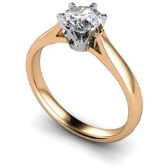 HRR299 Crown Set Round Cut Solitaire Diamond Ring - rose