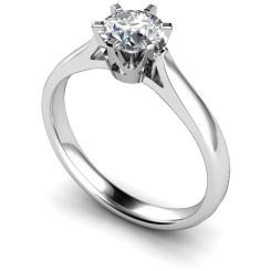 HRR299 Crown Set Round Cut Solitaire Diamond Ring - white