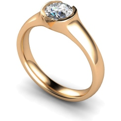 HRR301 Round Solitaire Diamond Ring - rose