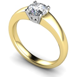 HRR305 Square Setting Brilliant Cut Solitaire Diamond Ring - yellow