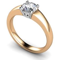 HRR305 Square Setting Brilliant Cut Solitaire Diamond Ring - rose