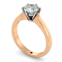 HRR308 Claw Set Round cut Solitaire Diamond Ring - rose