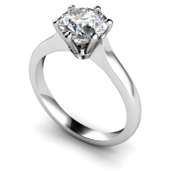 HRR308 Claw Set Round cut Solitaire Diamond Ring - white