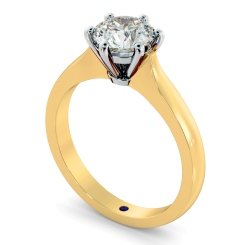 HRR308 Claw Set Round cut Solitaire Diamond Ring - yellow