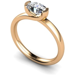 HRO315 Oval Solitaire Diamond Ring - rose