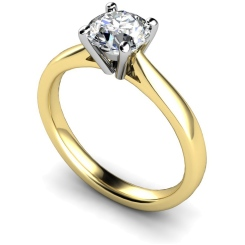 HRR354 4 Prong Round cut Solitaire Diamond Ring - yellow