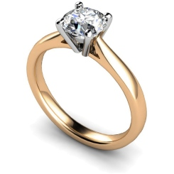 HRR354 4 Prong Round cut Solitaire Diamond Ring - rose
