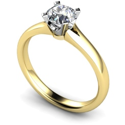 HRR375 Tapered Round cut Solitaire Diamond Ring - yellow