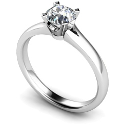 HRR375 Tapered Round cut Solitaire Diamond Ring - white
