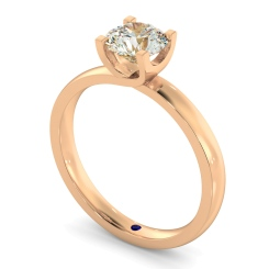 HRR386 Crossover Setting Round Cut Solitaire Diamond Ring - rose