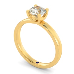 HRR386 Crossover Setting Round Cut Solitaire Diamond Ring - yellow