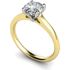 HRR392 Claw Set Round Cut Solitaire Diamond Ring - yellow