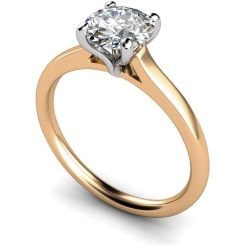 HRR392 Claw Set Round Cut Solitaire Diamond Ring - rose