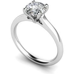 HRR392 Claw Set Round Cut Solitaire Diamond Ring - white