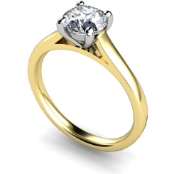HRR394 4 Claw Round cut Solitaire Diamond Ring - yellow