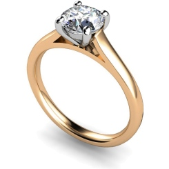 HRR394 4 Claw Round cut Solitaire Diamond Ring - rose