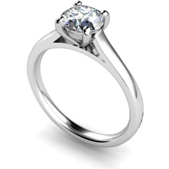HRR394 4 Claw Round cut Solitaire Diamond Ring - white