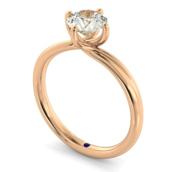 HRR412 Crossover Style Round Cut Solitaire Diamond Ring - rose