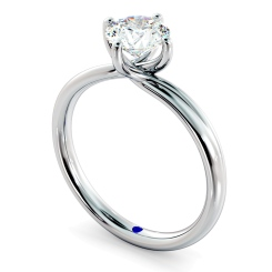 HRR412 Crossover Style Round Cut Solitaire Diamond Ring - white
