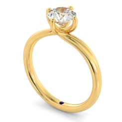 HRR412 Crossover Style Round Cut Solitaire Diamond Ring - yellow