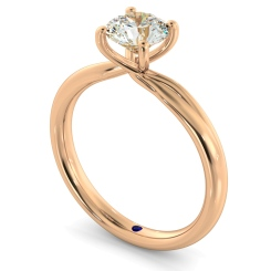 HRR413 Crossover Setting Round Cut Solitaire Diamond Ring - rose