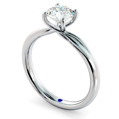 HRR413 Crossover Setting Round Cut Solitaire Diamond Ring - white