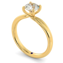 HRR413 Crossover Setting Round Cut Solitaire Diamond Ring - yellow