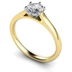 HRR414 Basket Set Round cut Solitaire Diamond Ring - yellow