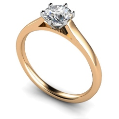 HRR414 Basket Set Round cut Solitaire Diamond Ring - rose