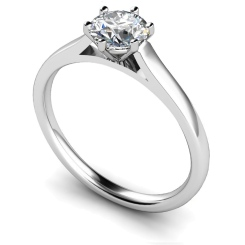 HRR414 Basket Set Round cut Solitaire Diamond Ring - white