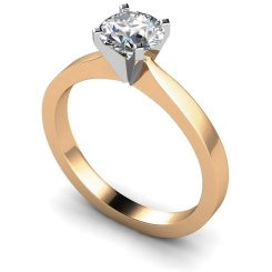 HRR418 Round Solitaire Diamond Ring - rose