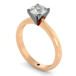 HRR479 4 Claw Round cut Solitaire Diamond Ring - rose