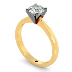 HRR479 4 Claw Round cut Solitaire Diamond Ring - yellow