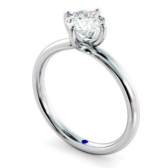 HRR480 Crossover Set Round Cut Solitaire Diamond Ring - white