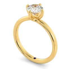 HRR480 Crossover Set Round Cut Solitaire Diamond Ring - yellow