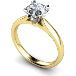 HRR501 Crown Set Round cut Solitaire Diamond Ring - yellow