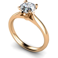 HRR501 Crown Set Round cut Solitaire Diamond Ring - rose