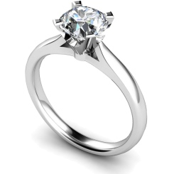 HRR501 Crown Set Round cut Solitaire Diamond Ring - white